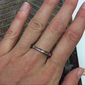 Jewelry - Sterling Silver Rhinestone Multicolored Ring